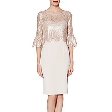 Buy Gina Bacconi Crepe Dress Lace Dress, Antique Rose Online at johnlewis.com