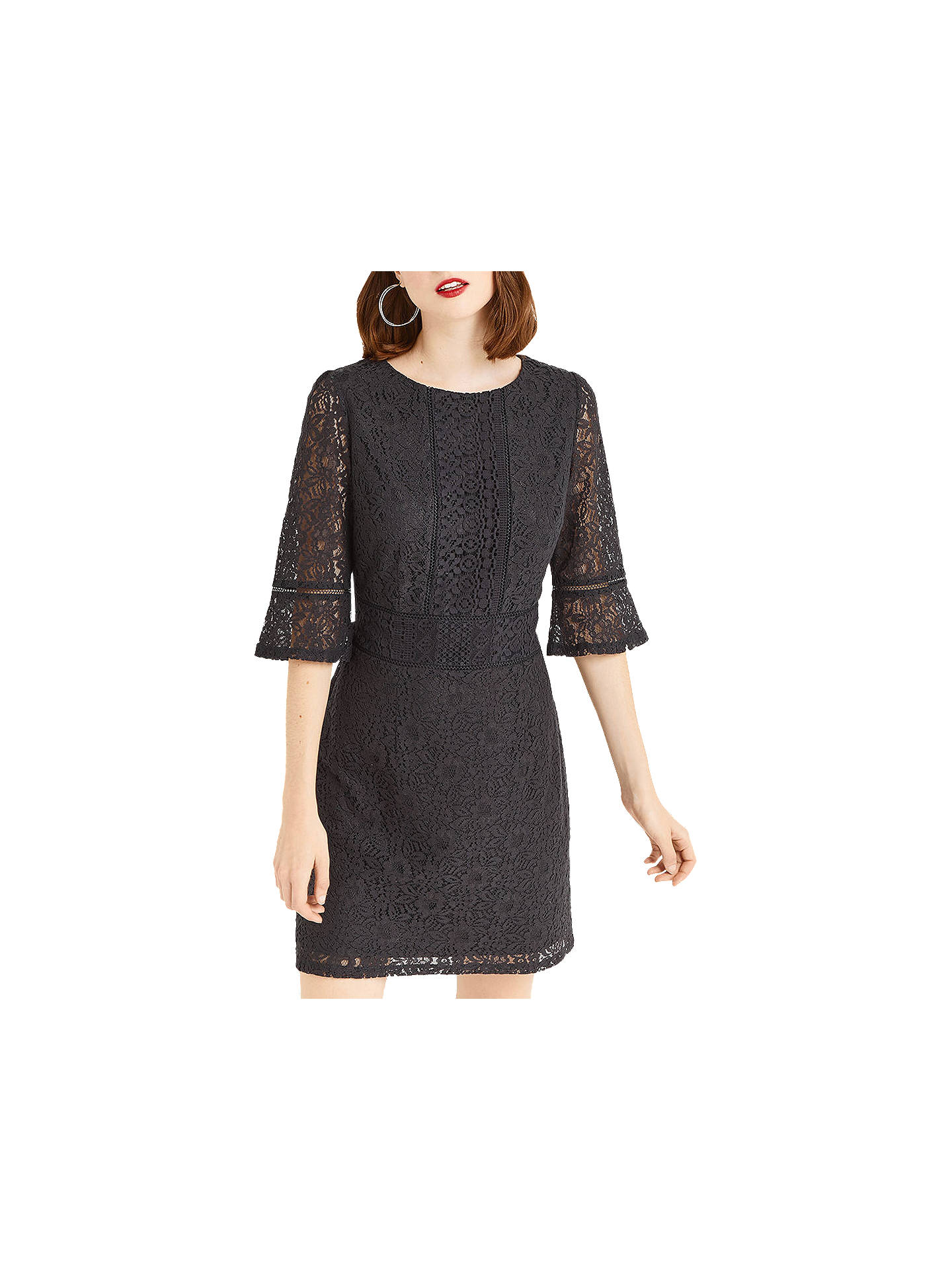 0fe54078754d Buy Oasis Kick Sleeve Lace Dress, Mid Grey, S Online at johnlewis.com ...