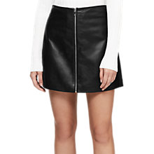 Buy Reiss Annabelle Leather Zip Skirt, Black Online at johnlewis.com