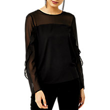 Buy Warehouse Sheer Long Sleeve Ruffle Top, Black Online at johnlewis.com