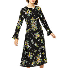 Buy Warehouse Sprig Print Midi Dress, Black/Multi Online at johnlewis.com