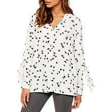 Buy Mint Velvet Ginko Print Tie Sleeve Top, White/Multi Online at johnlewis.com