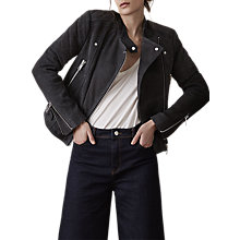 Buy Reiss Laurie Quilted Biker Jacket, Charcoal Online at johnlewis.com
