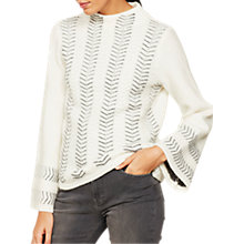 Buy Mint Velvet Zig Zag Funnel Neck Jumper, Neutral Online at johnlewis.com