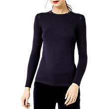 Buy Warehouse Pearl Trim Jumper, Navy Online at johnlewis.com