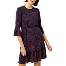Buy Warehouse Polka Dot Tiered Jersey Dress, Navy Online at johnlewis.com