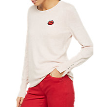 Buy Mint Velvet Lip Motif Crew Neck Jumper, Light Pink Online at johnlewis.com