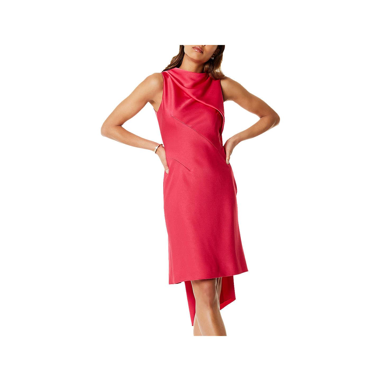 Karen Millen Asymmetric Super Train Dress, Pink at John Lewis