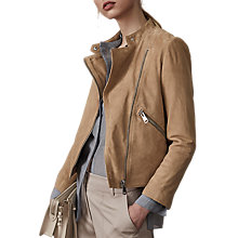 Buy Reiss Ellen Suede Biker Jacket, Sand Online at johnlewis.com