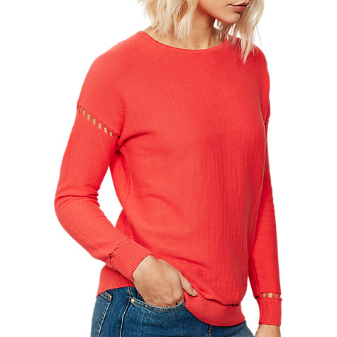 Buy Mint Velvet Ladder Stitch Jumper, Watermelon Online at johnlewis.com