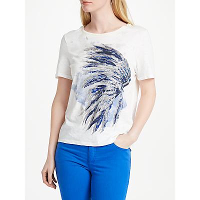 Oui Headdress Print T-Shirt, Cloud Dancer