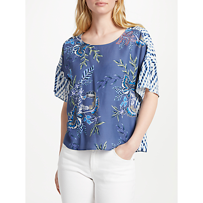 Oui Floral Printed Top, Blue/Multi
