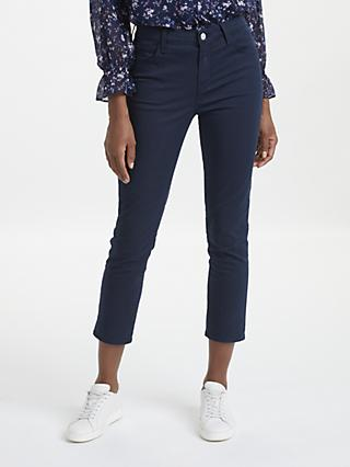 J Brand Ruby High Rise Cropped Cigarette Jeans, Distressed Dark Iris