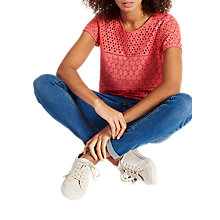Buy Joules Nadine Broderie Top, Red Sky Online at johnlewis.com