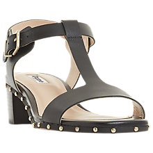 Buy Dune Isadora T-Bar Block Heeled Sandals, Black Leather Online at johnlewis.com