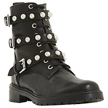 Buy Dune Risky Embellished Ankle Boots, Black Leather Online at johnlewis.com