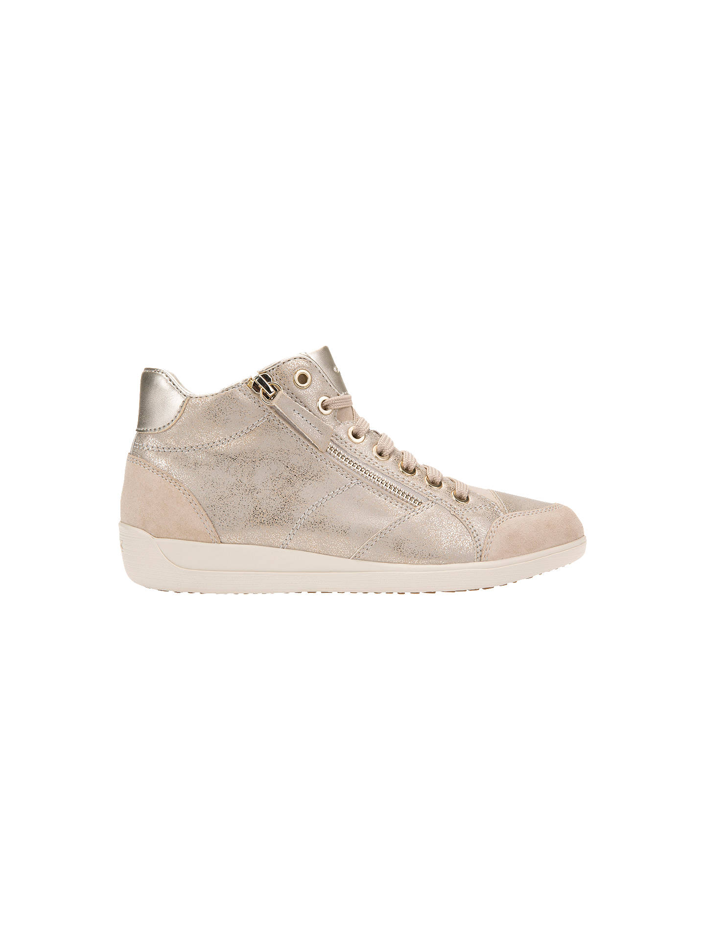 Geox Women's Myria High Top Lace Up Trainers, Taupe at John