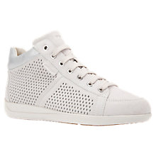 Buy Geox Myria High Top Lace Up Trainers, White Leather Online at johnlewis.com