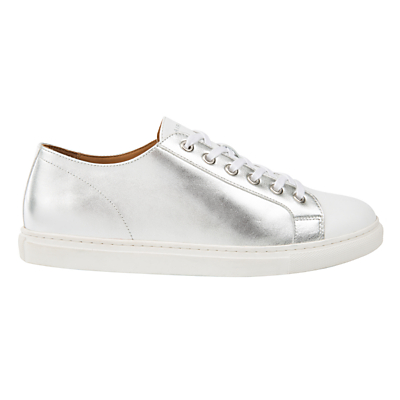 Air & Grace Cherub Lace Up Trainers, Silver/White Leather