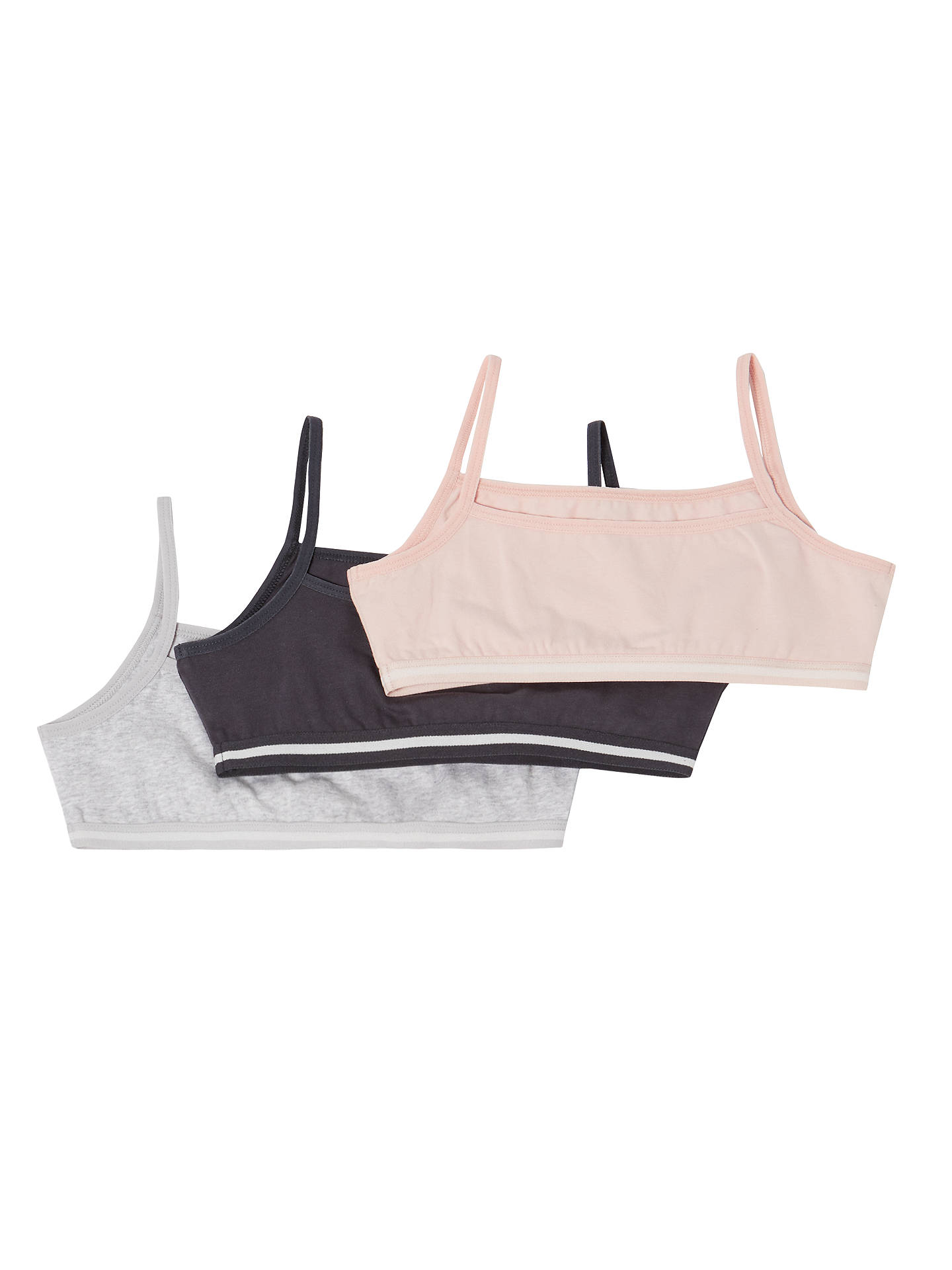 BuyJohn Lewis & Partners Girls' Plain Crop Tops, Pack of 3, Multi, 8 years Online at johnlewis.com
