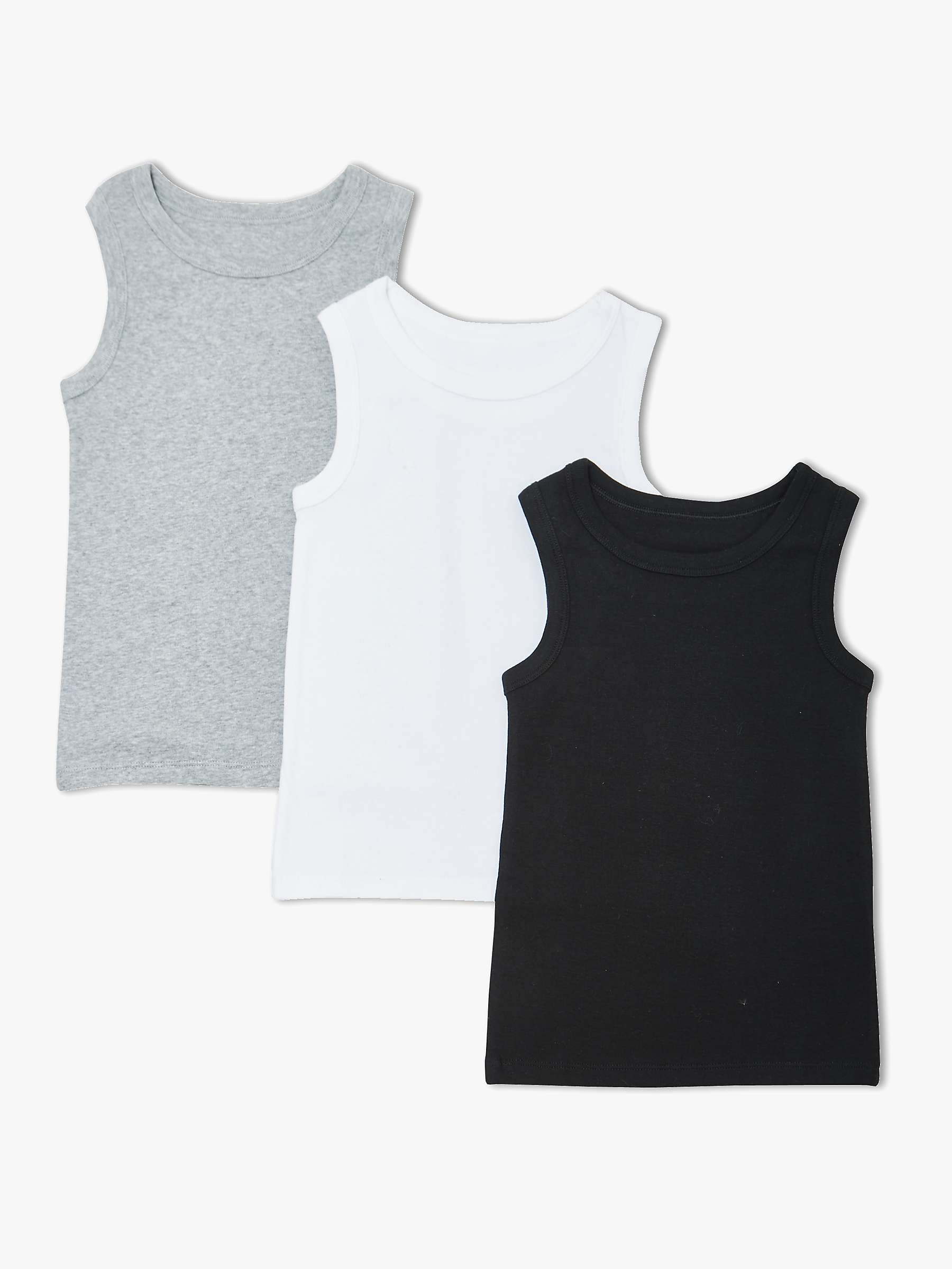 John Lewis & Partners Boys' Plain Vests, Pack of 3, Black/White at John  Lewis & Partners