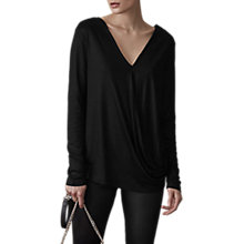 Buy Reiss Rox Wrap Long Sleeve Top, Black Online at johnlewis.com