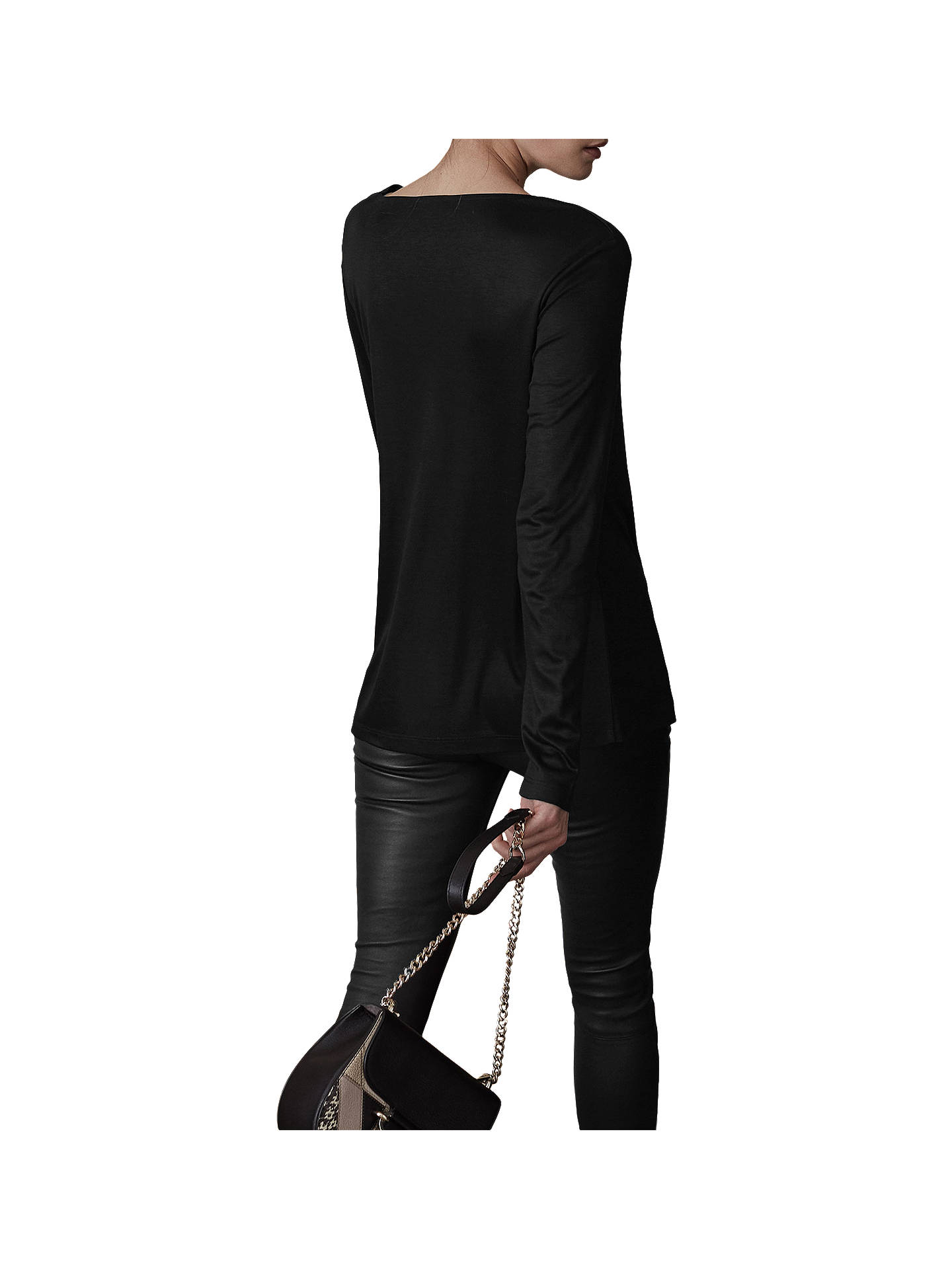 BuyReiss Rox Wrap Long Sleeve Top, Black, XS Online at johnlewis.com