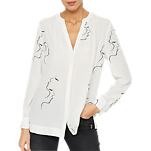 Buy Mint Velvet Franca Print Blouse, White Online at johnlewis.com