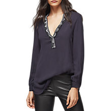 Buy Reiss Phoebe Embroidered Blouse, Night Navy Online at johnlewis.com