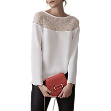 Buy Reiss Kiera Lace Top, Off White Online at johnlewis.com