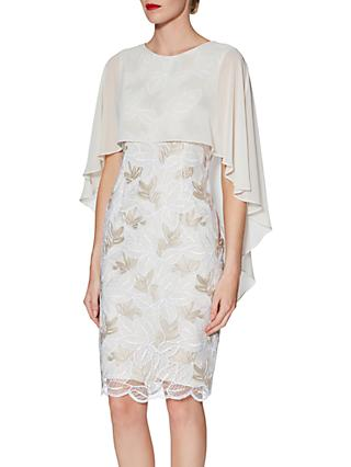 Gina Bacconi Kia Embroidered Dress and Cape, Beige/White