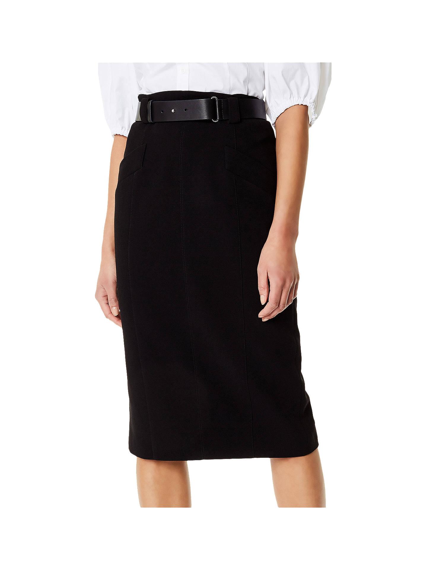 4b3e36f7f Buy Karen Millen Belt Pencil Skirt, Black, 6 Online at johnlewis.com ...