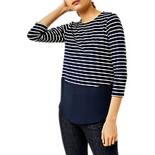Buy Warehouse Stripe Button Back Top, Blue Stripe Online at johnlewis.com