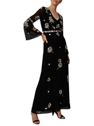 Phase Eight Collection 8 Beaded Flower Dress, Black