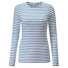 Buy Pure Collection Soft Jersey Crew Neck Top, Blue/White Online at johnlewis.com