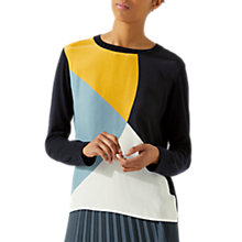 Buy Jigsaw Silk Front Block Jumper, Dark Navy Online at johnlewis.com