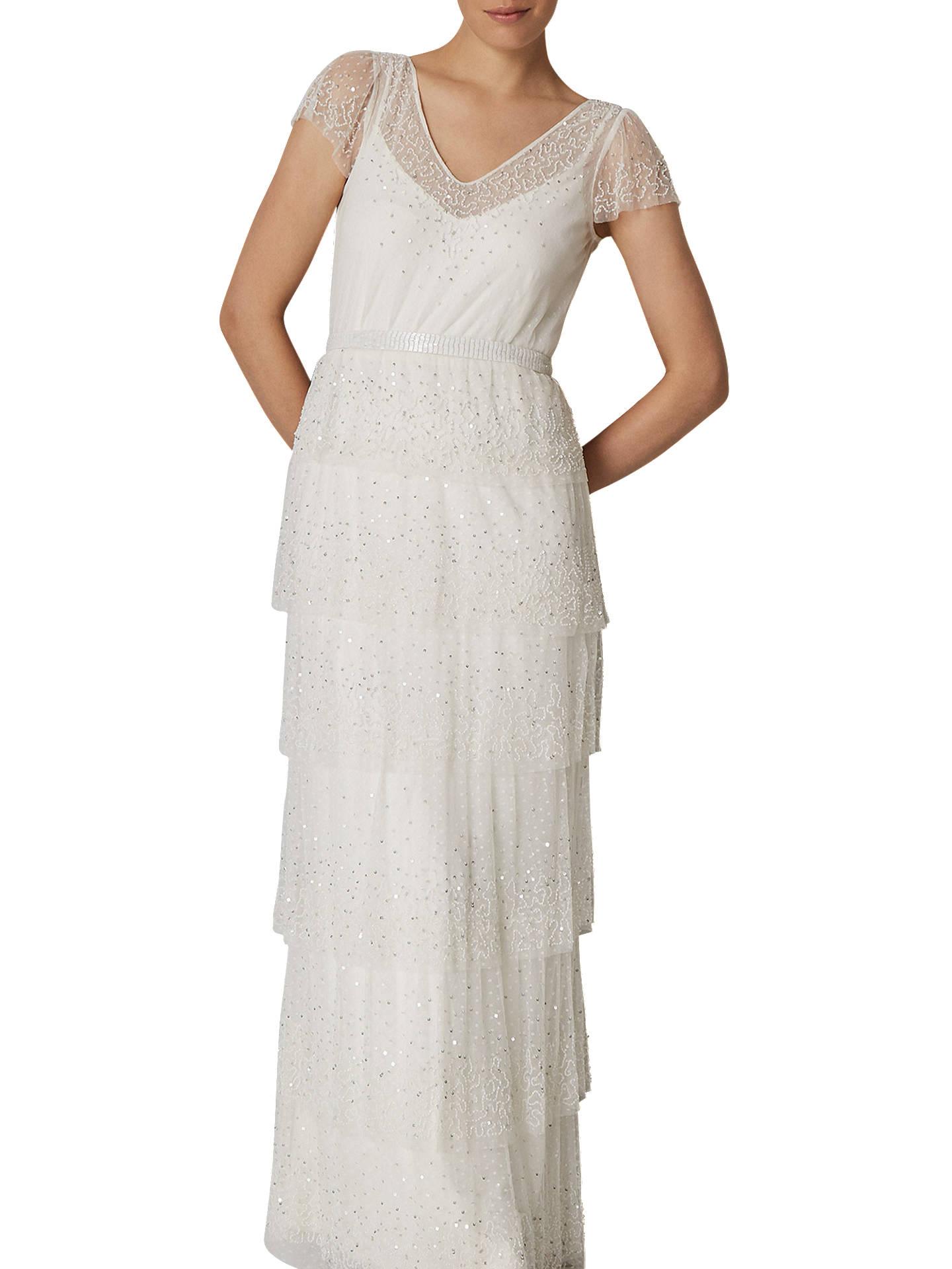 Phase Eight Bridal Nyelle Layered Wedding Dress Cream Ivory 8 Online At Johnlewis