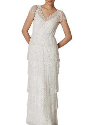 Phase Eight Bridal Nyelle Layered Wedding Dress, Cream/Ivory