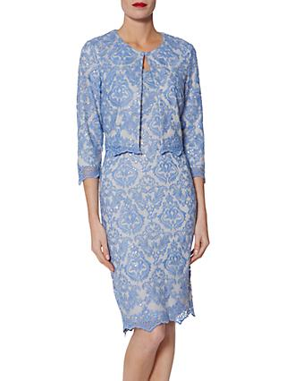 Gina Bacconi Vera Embroidered Dress, China Blue