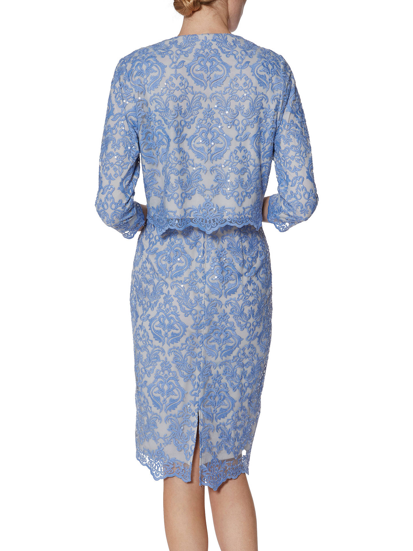BuyGina Bacconi Vera Embroidered Dress, China Blue, 8 Online at johnlewis.com