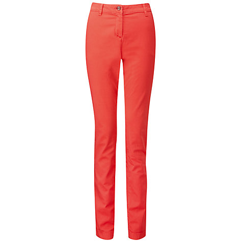 Buy Pure Collection Washed Cotton Chino Trousers, Coral Online at johnlewis.com