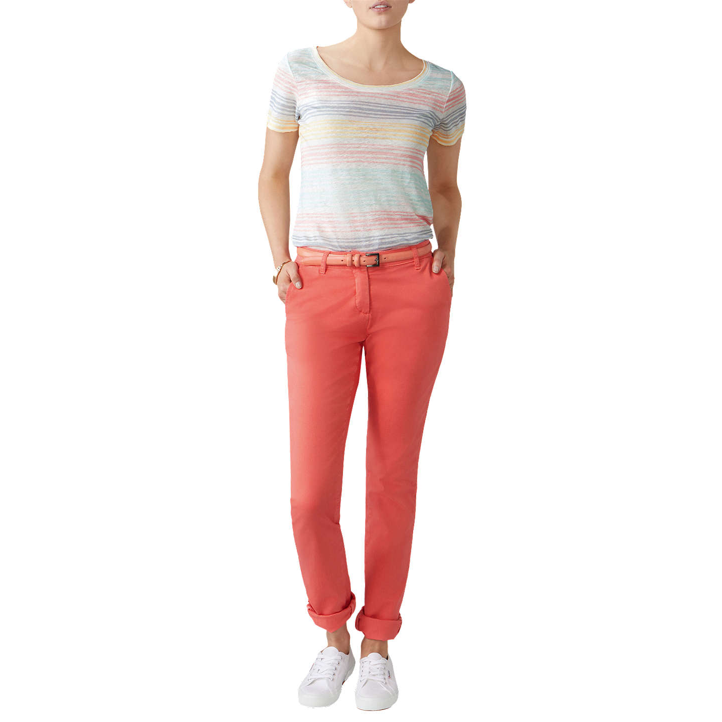 BuyPure Collection Washed Cotton Chino Trousers, Coral, 10R Online at johnlewis.com