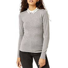 Buy Warehouse Diamante Collar Jumper, Light Grey Online at johnlewis.com