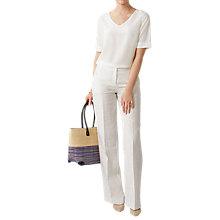 Buy Pure Collection Wide Leg Striped Linen Trousers, Ivory/Black Online at johnlewis.com
