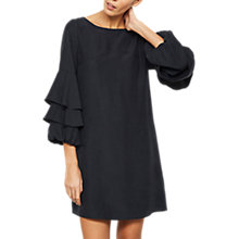 Buy Mint Velvet Ruffle Sleeve Cupro Dress, Dark Blue Online at johnlewis.com