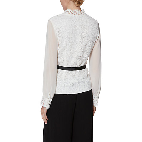 Buy Gina Bacconi Sadie Lace and Chiffon Blouse, Ivory Online at johnlewis.com