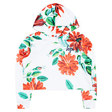Buy Hype Girls' Floral Print Cropped Hoodie, White/Orange/Green Online at johnlewis.com