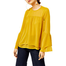 Buy Warehouse Crinkle Tiered Sleeve Top, Mustard Online at johnlewis.com