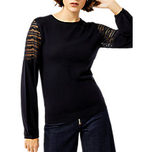 Buy Warehouse Lace Sleeve Detail Jumper, Navy Online at johnlewis.com