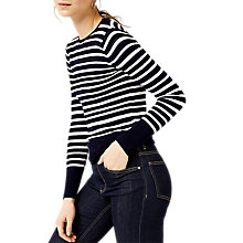 Buy Warehouse Stripe Pointelle Jumper, Navy Online at johnlewis.com